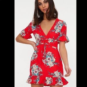 Red floral corset dress